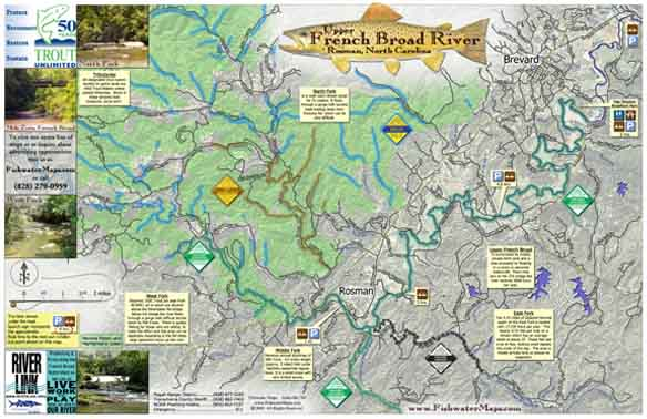 French broad river map for Fishing in asheville nc