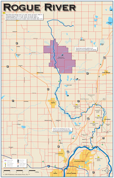 Rouge River Michigan Map.Michigan Fly Fishing And River Books And Maps